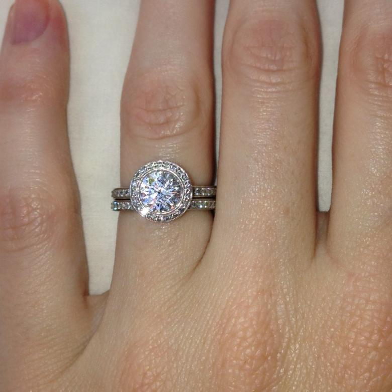 RITANI ENDLESS LOVE COLLECTION PLATINUM ENGAGEMENT RING AND WEDDING BAND