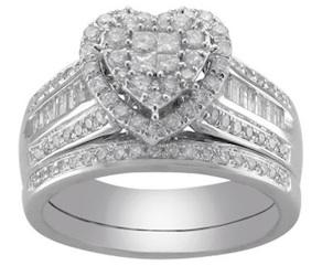 Beau Beautiful NEW Cherished Hearts 1 CT 14K WG Diamond Heart Bridal Ring Set |  I Do Now I Donu0027t