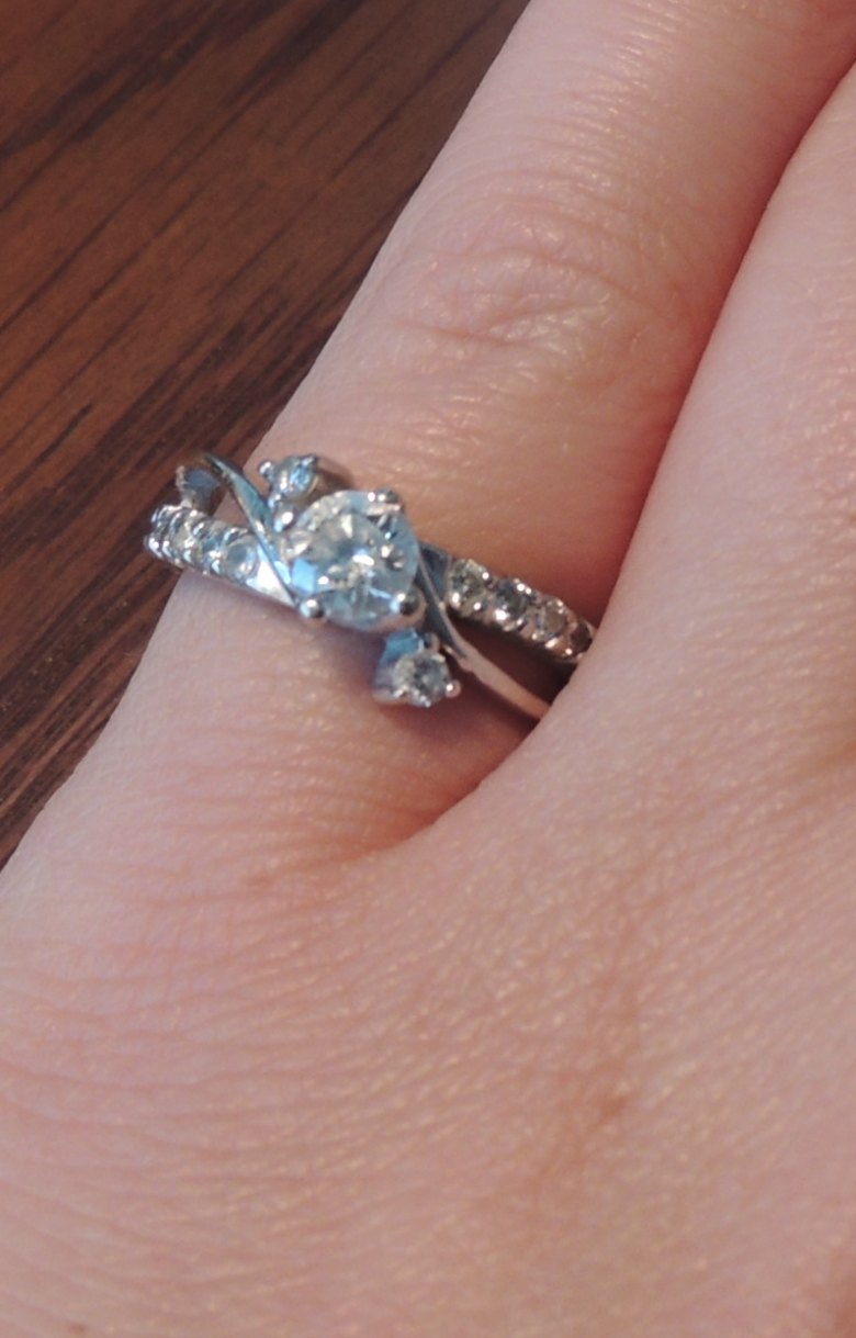 Unique 3 stone, 14kt white gold engagement ring, size 5.5 | I Do Now ...