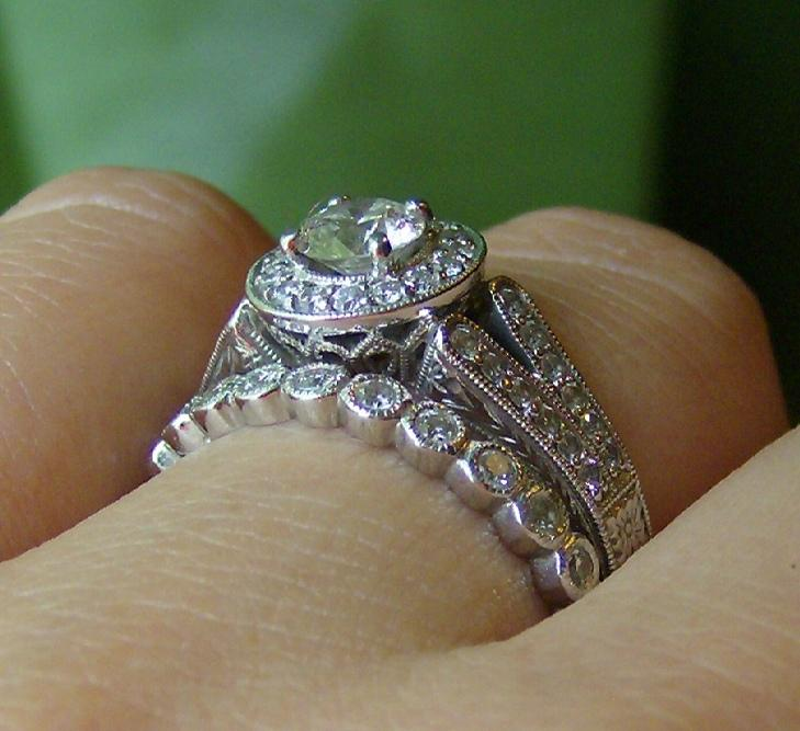 band edge diamond in half eternity a line set weighs platinum setting graceful the wedding of bands style ring bezel oval chic polished carats each pin embraces