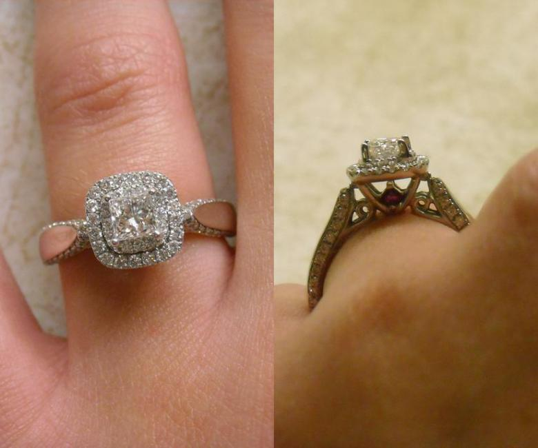 14k White Gold Engagement Ring Princess Cut Double Halo
