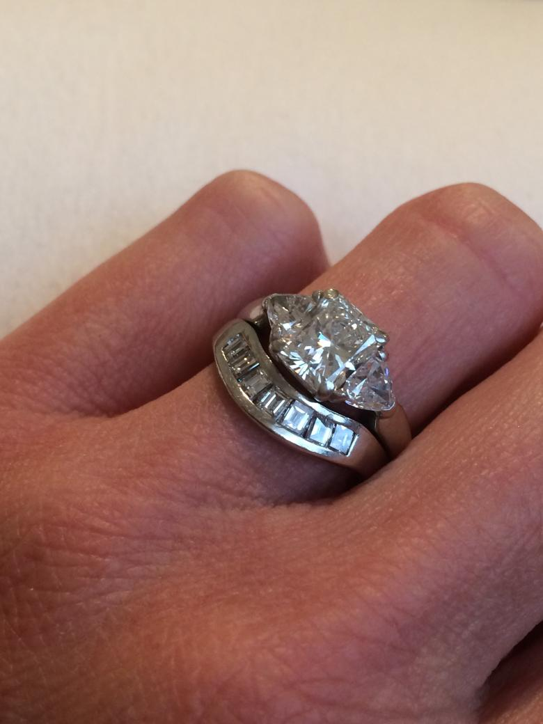 ct center stone custom designed engagement ring with matching wedding band center. Black Bedroom Furniture Sets. Home Design Ideas