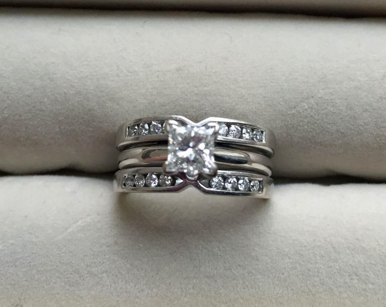 Princess cut wedding set