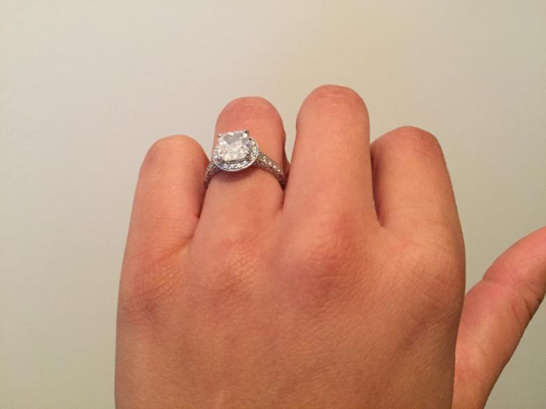 2.3 carat Cushion Cut Solitaire Engagement Ring