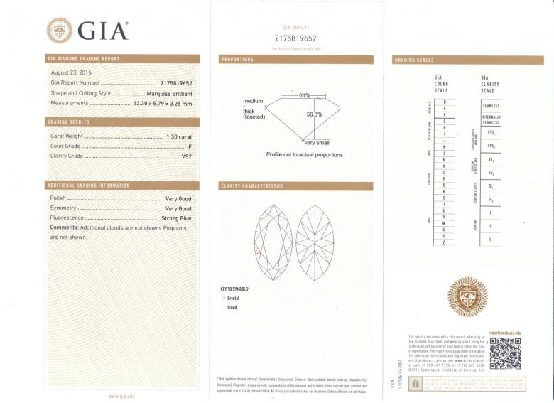 GIA certified 2.30TCW Marquise