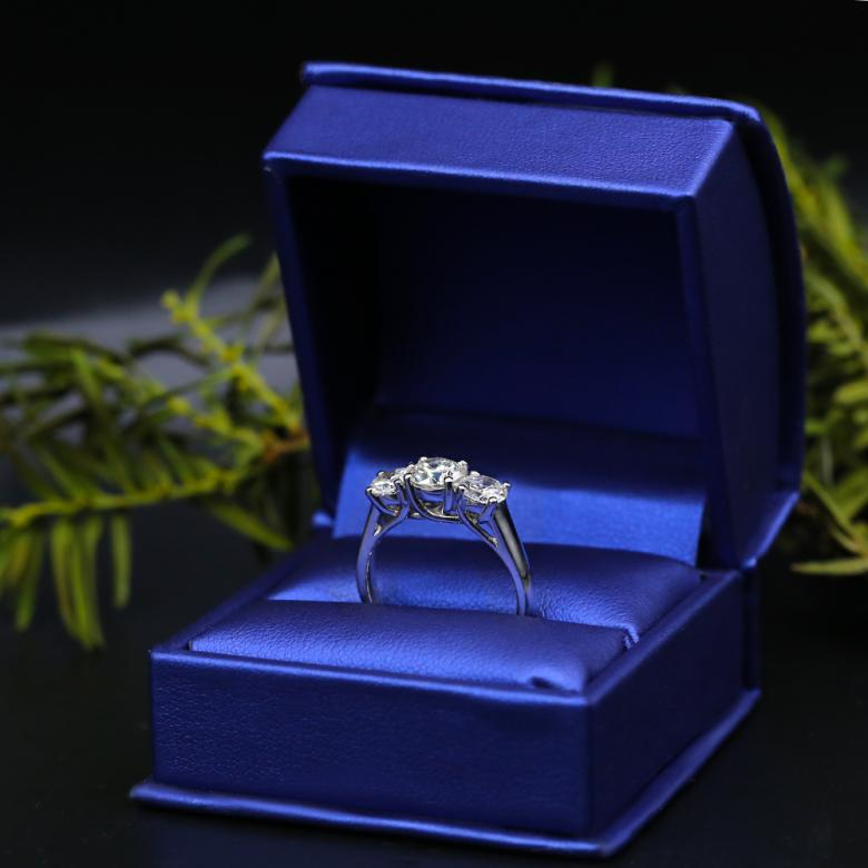 Three-stone Platinum engagement ring
