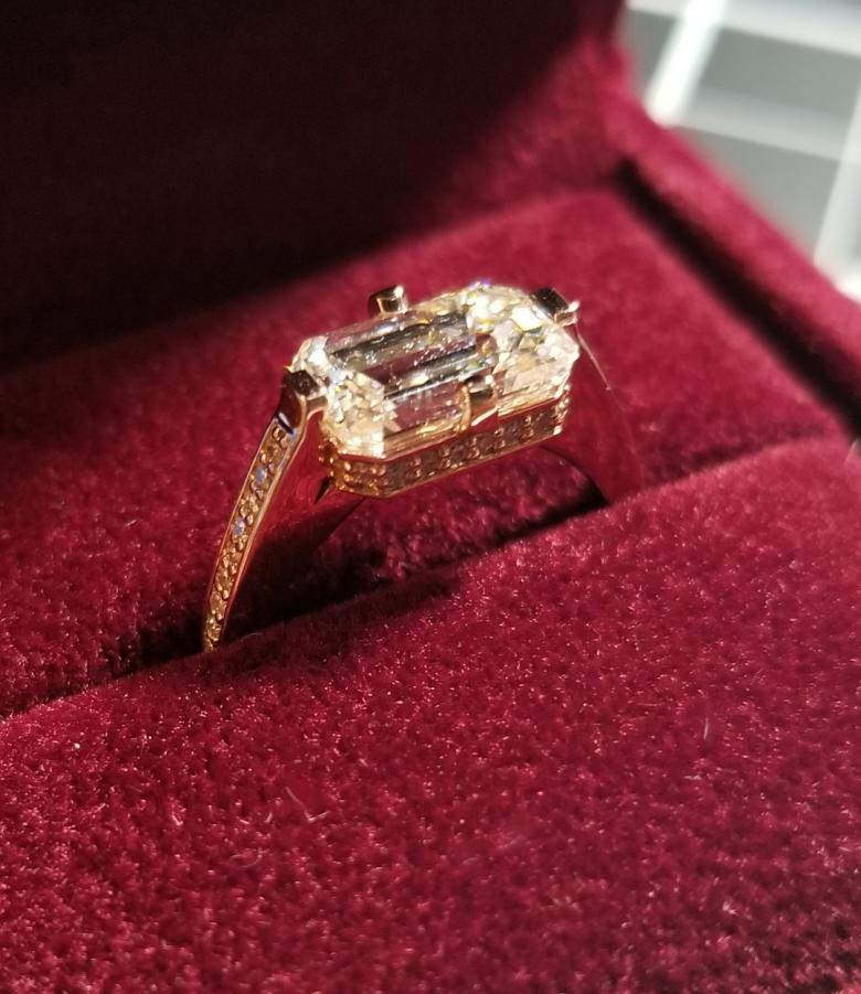 East West Emerald Cut Ring Diamonds Direct