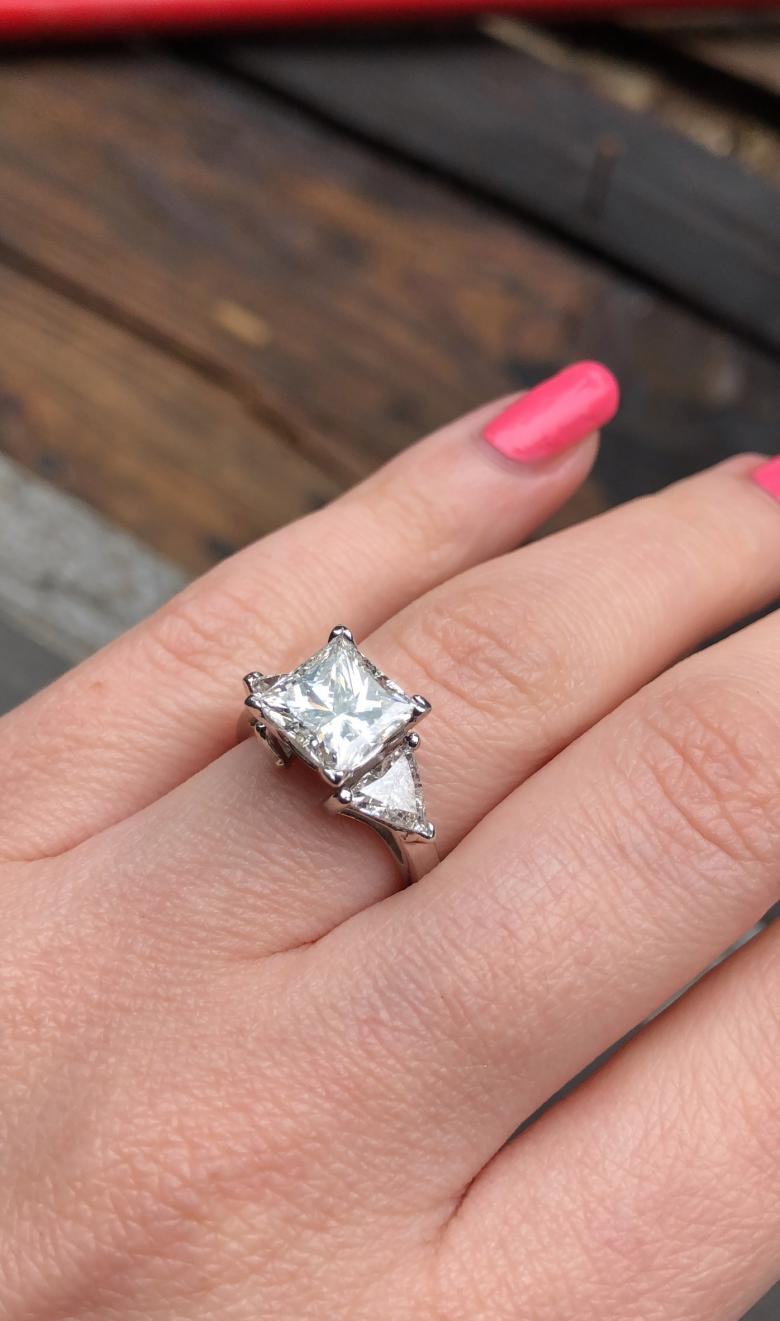 Amazing Platinum Three-stone Engagement