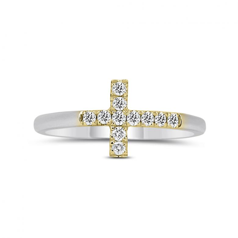 Two Tone Cross Ring