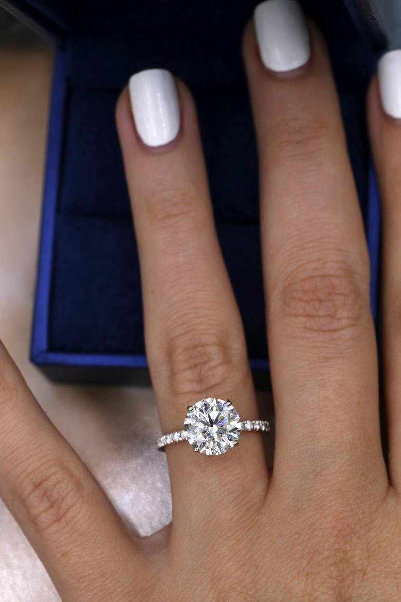 14k White Gold Gia Certified Engagement Ring With 3 36ct