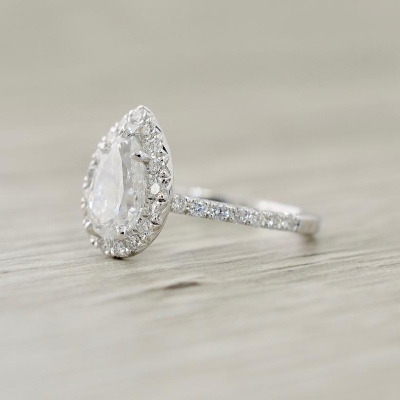Pear French Pave Halo