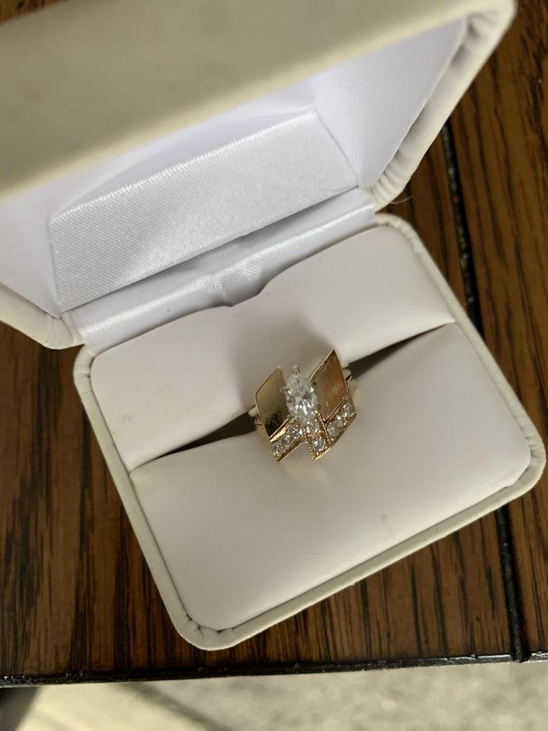 Marquise engagement ring with