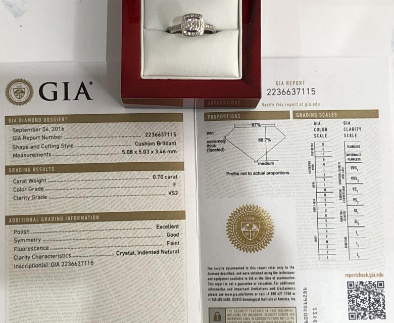 1.00ct GIA Certified Platinum