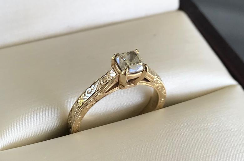 Hand-Engraved 14K Yellow Gold