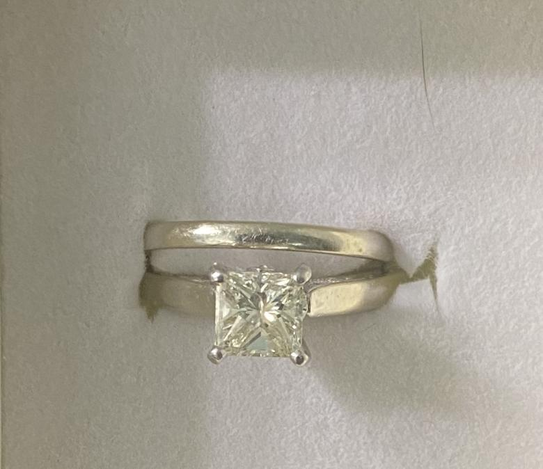 Engraved engagement ring and