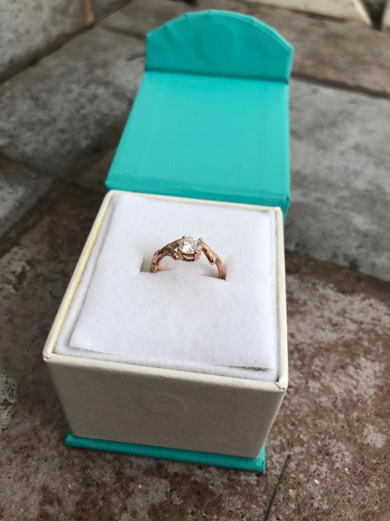 Moissanite and Rose gold