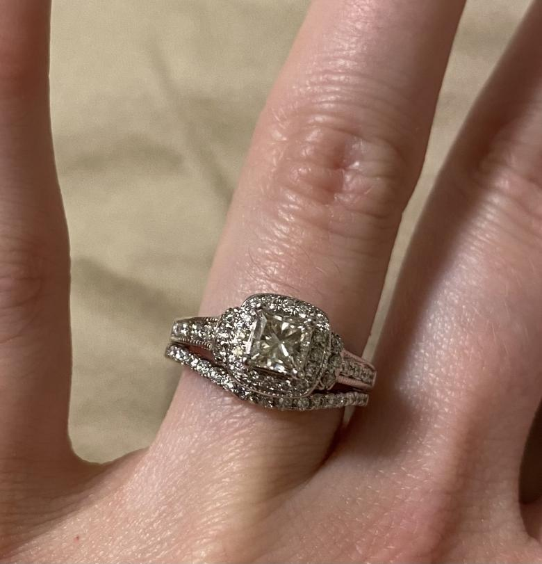 Engagement ring with attached