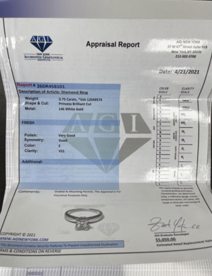 GIA Certified 0.75ct E-VS1