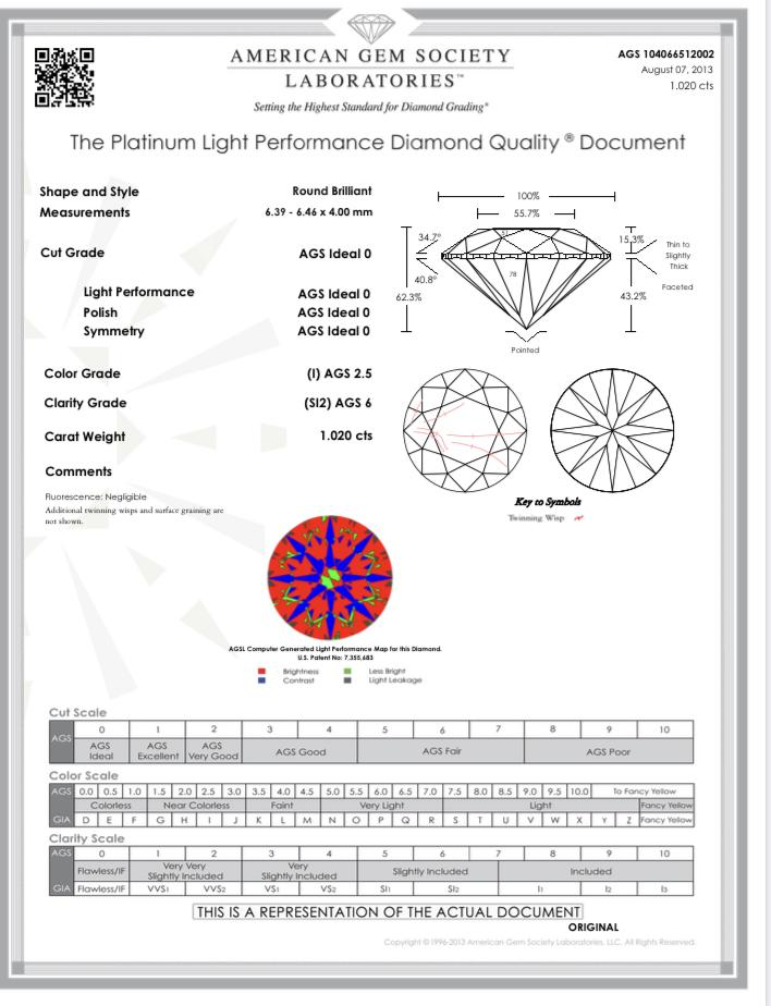 1.02ct AGSL Certified I-SI2