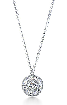 Tiffany circle pendant necklace 16 platinum chain 26 carat tiffany circle pendant necklace 16 platinum chain 26 carat diamond pendant aloadofball Images