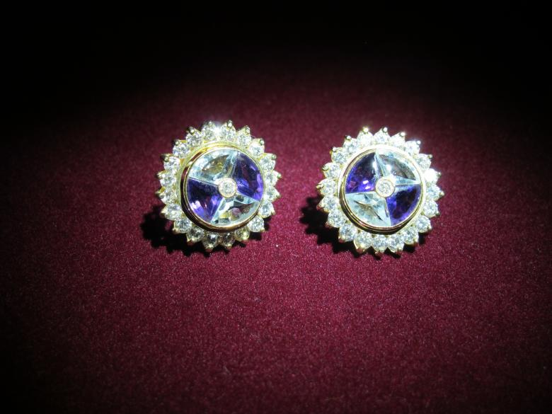 Earring Diamond, Blue Topaz