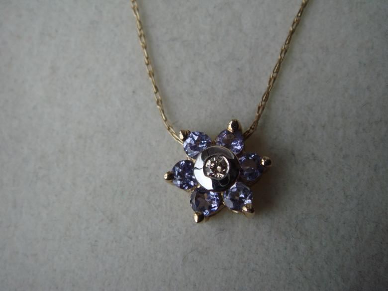 Tanzanite necklace with diamond