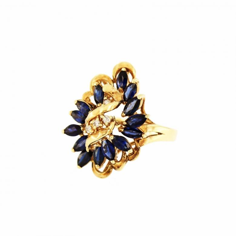 Cocktail Marquise Sapphire&Diamond 14K