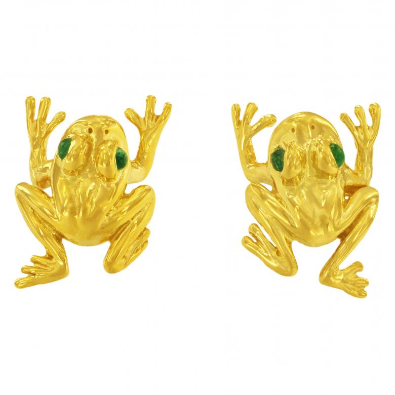 18k Yellow Gold Frog