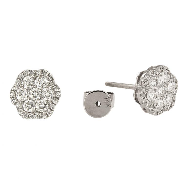 Flower shaped Diamond Stud