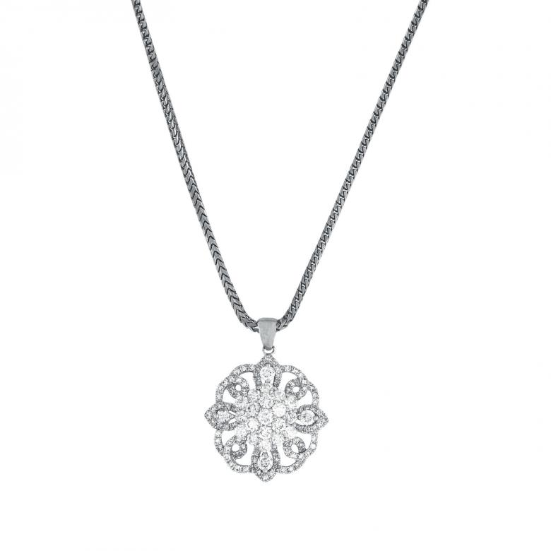 Diamond Flower Shaped Pendant