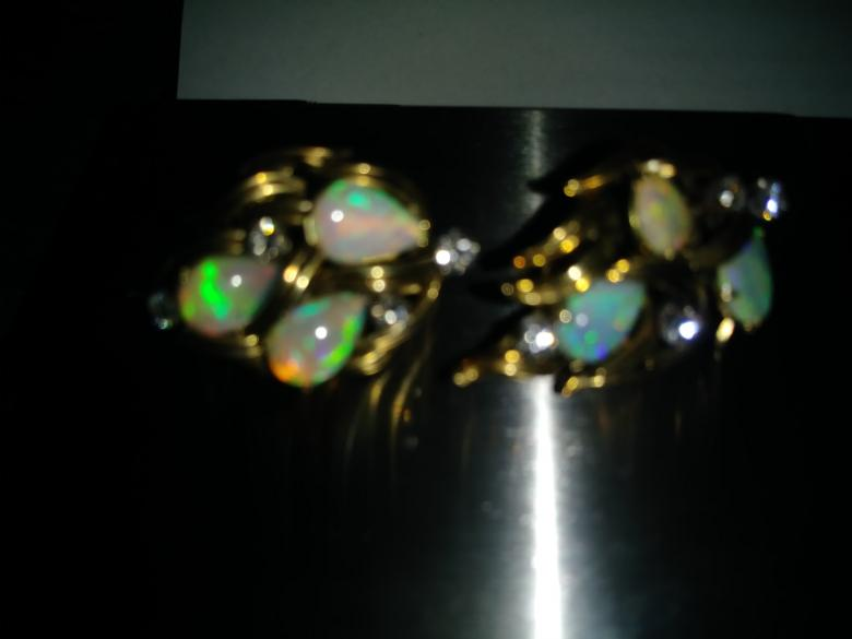 Opal + Diamond Earrings