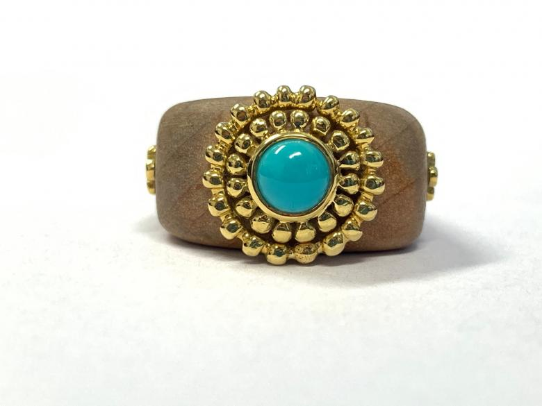 Turquoise and Gold Wooden