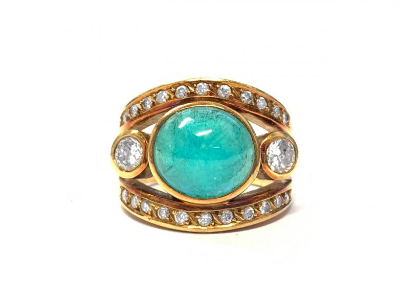 Vintage Cabochon Emerald and