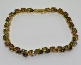 12.36tw Mulit-Color Tourmaline Bracelet
