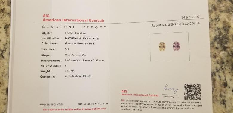 .65ct AIG Certified Natural