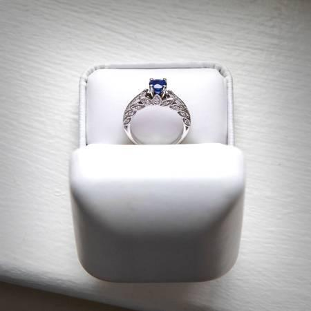 Diamond and sapphire engagement