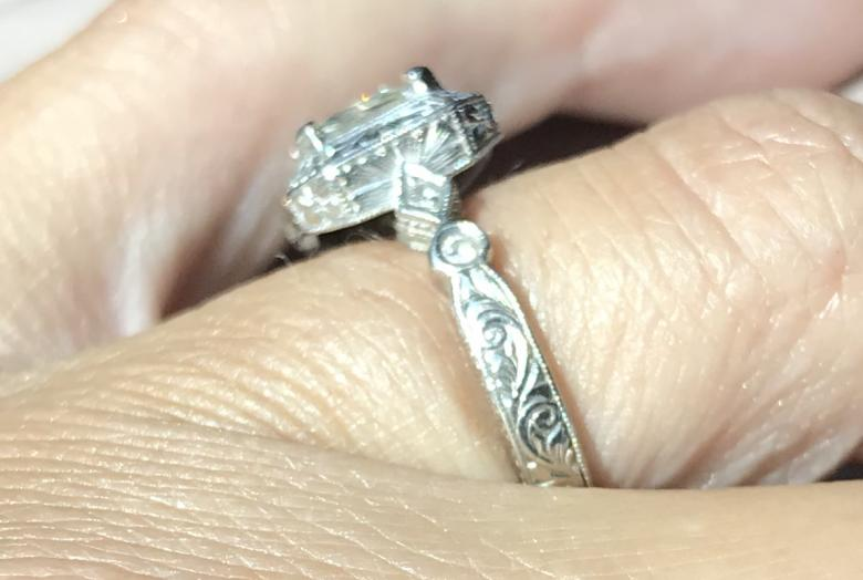 Moissanite engagement ring and