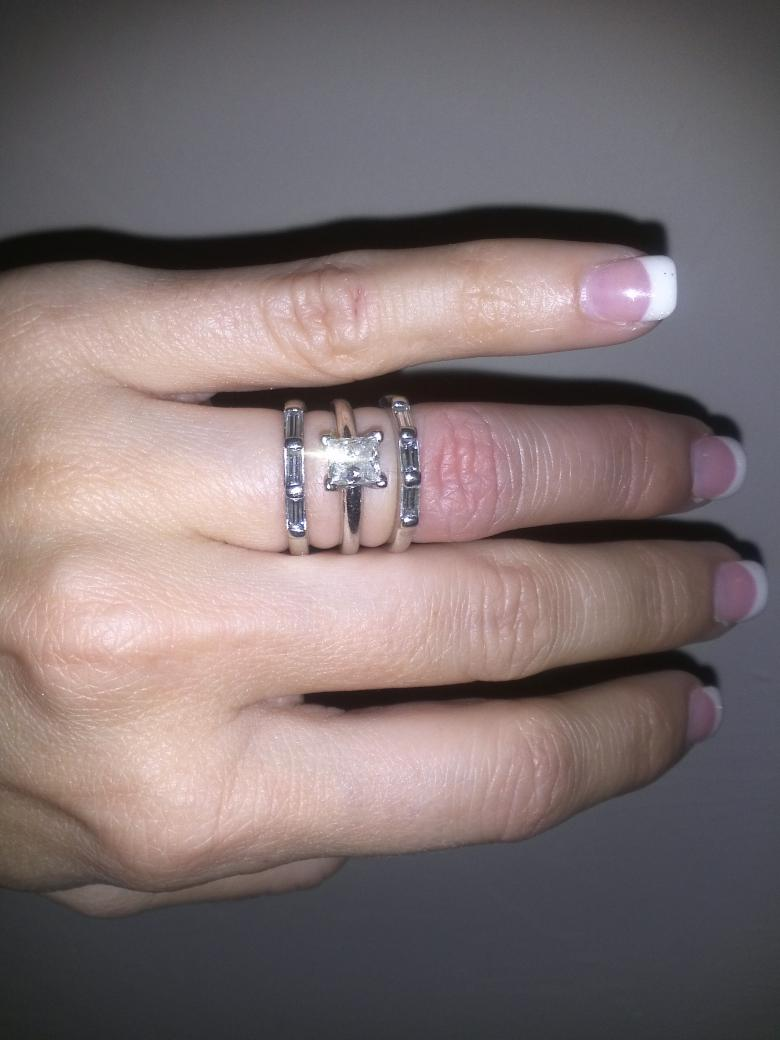 Princess Cut Engagement Ring with 2 weddings bands with baguettes ...
