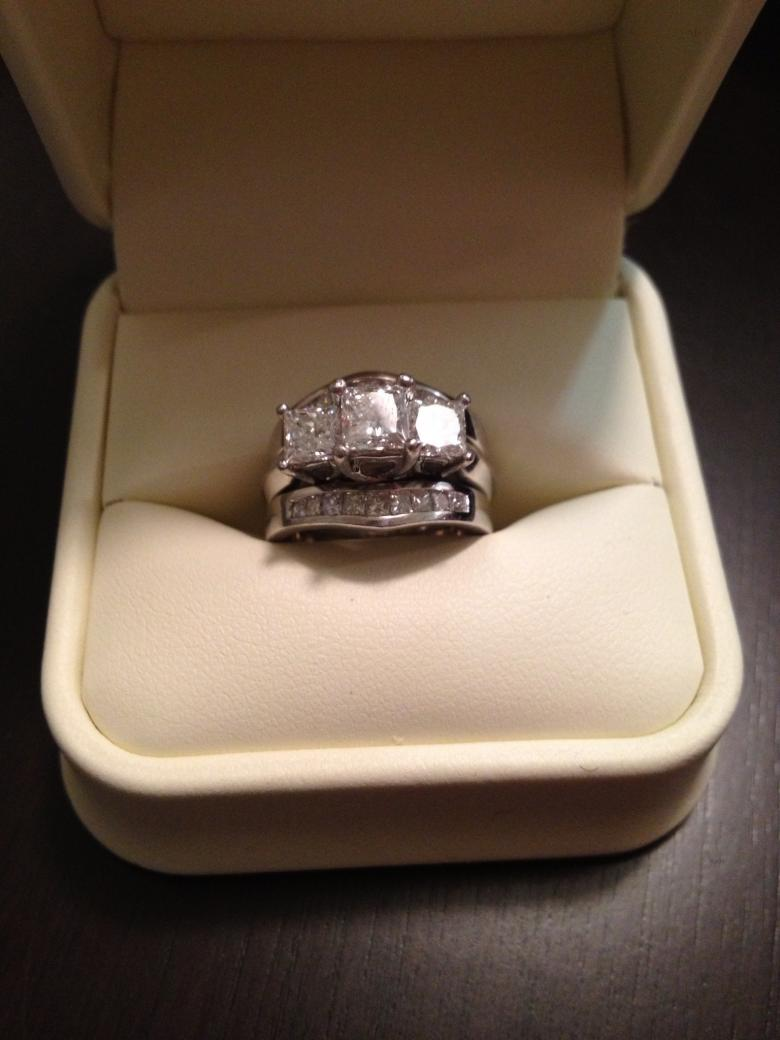 2 5 Carat Princess Cut 18k White Gold Wedding Set I Do