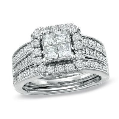 1 1 2 Ct T W Princess Cut Quad Diamond Bridal Set In 14k