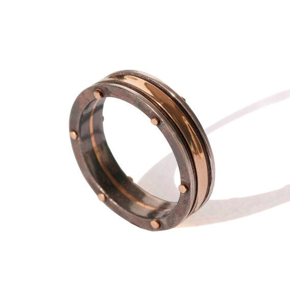doran merav 18k rose gold and oxidized silver steampunk wedding band size 10 i do now i dont - Steampunk Wedding Rings