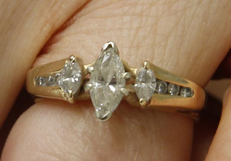 3 Stone Marquis Engagement Band With Wedding Ring Enhancer
