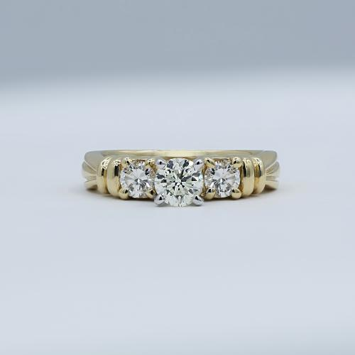 Three-Stone Yellow Gold Engagement