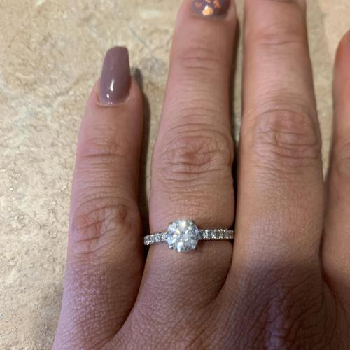 Stamped 18KT white gold