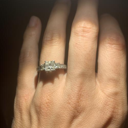 Platinum princess cut engagement