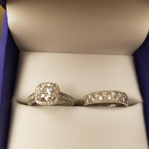 Cushion halo engagement ring