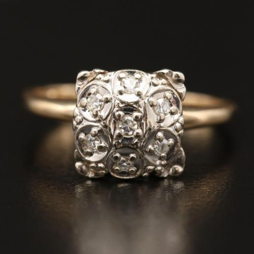 14k Vintage Illusion Diamond