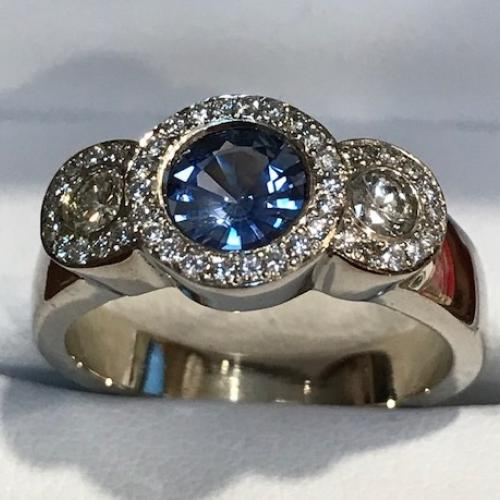 Ladies Sapphire Diamond Engagement
