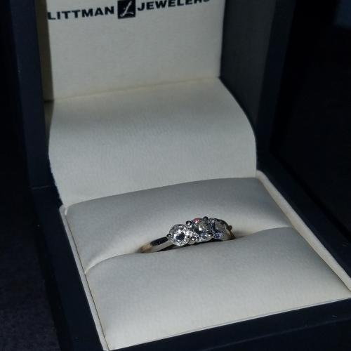 Three-stone white gold engagement