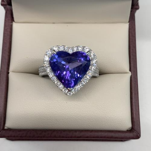 Tanzanite Heart and Diamond